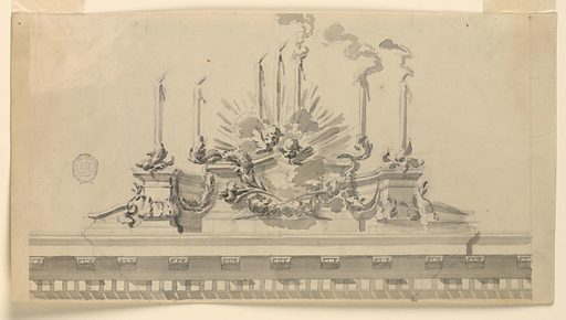 A podium is erected above a pediment bearing seven burning candles. Festoons of garland hand upon it, and two cherubim are in a glory above at center. Made in: Italy. Date: 1750s. Record ID: chndm_1901-39-1005.