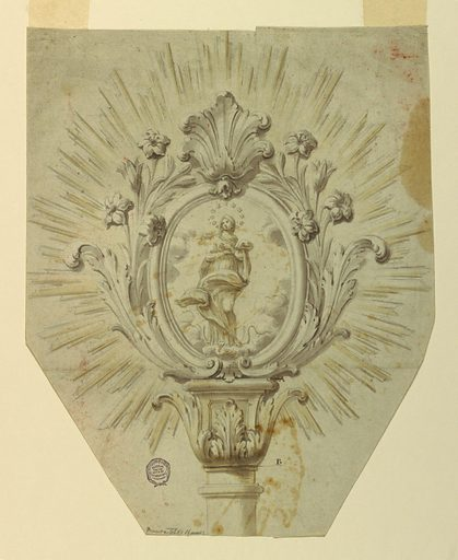 Beveled lower edges. The staff has a capital consisting of acanthus calyx and a pedestal. It is marked AB. Above stands an oval frame with acanthus leaves and lily sprays laterally, with a palmette on top. The Immaculate Conception is represented. A glory of rays is outside. Made in: Italy. Date: 1770s. Record ID: chndm_1901-39-1107.