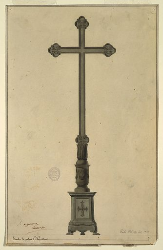 A triangular pedestal resting on three lion paws supports a round shaft decorated with a festoon leads to a cup-shaped element decorated with leaves above which rises a slender cross. Two pen and brown ink framing lines. Made in: Italy. Date: 1830s. Record ID: chndm_1901-39-1120.