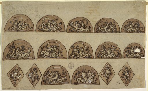 """Horizontal rectangle. Upper row, each semi-circle contains woman sitting upon centaur. Left panel turned toward left, carries bowl. Above sketched, shell in center between pairs of dolphins besides tridents. Second panel, Centaur turned right, woman carries bowl. Third panel: Centaur turned toward left, carries shell. Fourth panel: Centaur turned right, carries something indistinct, possibly bone. Fifth panel: Centaur same direction; he swings sword. Second row first panel: Centaur turned toward left carries thyrsus. Woman plays lire. Second panel: Centaur turns right, a woman embraces him. Third panel: Centaur turned left, he carries cornucopia. Fourth panel: Centaur turns left and carries oar. Fifth panel: Centaur turned right embracing woman on right arm; their left hands joined. Bottom row: at left and at right, four lozenges, each with dancing woman. In center, two semi-circles. In left one, centaur turned toward left, holding cloth. In right panel, """"Centaur"""" turned toward right, playing lyre. Verso: written in ink by Giani, """"Delle/ Revoluzioni/ D'italia/ libri venti quattro/Di Carlo Denina/ colonne terzo/ torino/ apresso li/ fratelli/ Revcendis/."""". Made in: Italy. Date: 1810s. Record ID: chndm_1901-39-1178."""