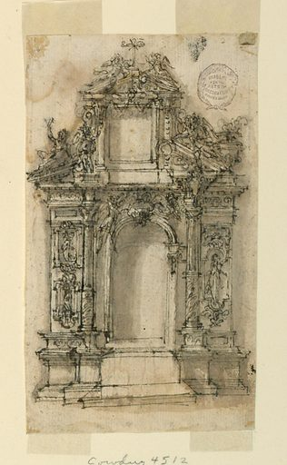 Elevation of an alter with alternative designs. At top, a triangular pediment topped with angels and a cross. At sides, columns are raised to different heights. Niche and tablet below are empty and undecorated. Made in: France. Date: 1650s. Record ID: chndm_1901-39-1467.