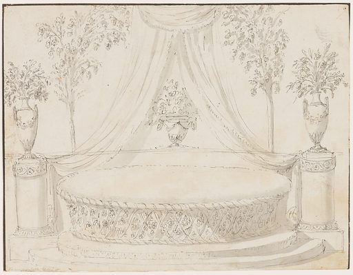 Elevation of an oval sofa with a woven base, standing on a stepped platform. On either side is a column supporting a vase with floral sprays. Two cushions on the sofa, each with a bow. At center, a figural vase with floral sprays sits under drapery . Made in: Italy. Date: 1800s. Record ID: chndm_1901-39-1505.