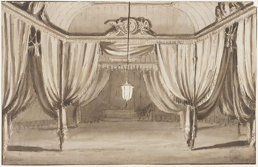 The tent is partitioned into three sections by posts. The front section is lit by a lantern suspended from the ceiling. Inside this section, there is a circular medallion supported by two winged figures, just below the ceiling. In the background, behind the tent, a woman sits in the corner of the sofa, against the rear wall. Made in: Italy. Date: 1800s. Record ID: chndm_1901-39-1525.