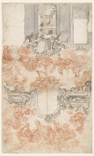 "Partial view of wall decoration. In the middle is intended a painted view in a garden atrium. The opening is bordered above by an overdoor with two alternative suggestions united to one whole. At left: an escutcheon, with a rectangular frame for a picture, is carried by putti; at right: a scrollwork frame with a portrait of a victorious general is carried by a putto holding in his outside arm a shield with a crowned double-headed eagle. Above, in the center, is a part of a putto leaning his hand upon a frame, which is intended to have a counterpart ""Autumn,"" ""Summer,"" ""Winter,"" sit upon clouds above the wall decoration. ""Saturnus"" flies toward ""Summer"" from the ovoidal scrollwork frame in the middle of the ceiling. A child with a basket kneels in the corner at right. At center, the ovoidal frame is supported laterally by pilasters of a kind, showing in the middle niches with female statues. Winged armless mermaids are shown laterally. Beside the pilaster at right sit women with wreathes and more children with vessels filled with flowers. The short wall opposite the shown one is faced by Cybele in her chariot drawn by lions and receiving fruits offered by a girl. A woman with a vine is at her other side. A woman carrying birds on a stick is beside the pilaster on the other long side. At right of it a child extending his arm toward a fruit basket carried by another child, sits upon the mermaid. Made in: Spain and Italy. Date: 1650s. Record ID: chndm_1901-39-1601."
