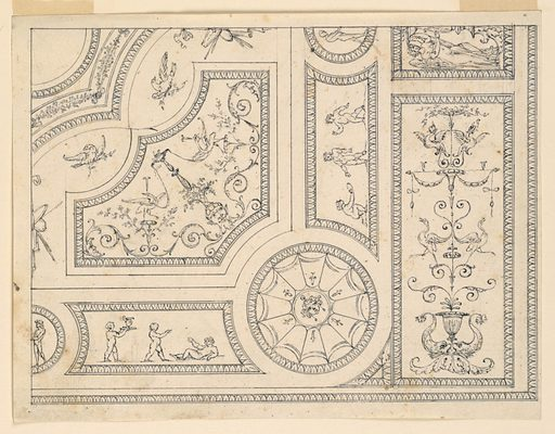Portion of a ceiling shown. At lower right, a candelabrum. To the left of this a circle with a mask at center. Flanking this, are two panel with three figures each. Made in: Italy. Date: 1770s. Record ID: chndm_1901-39-1683.