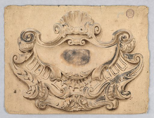 An escutcheon crowned by a shell. Made in: Italy. Date: 1700s. Record ID: chndm_1901-39-1726.