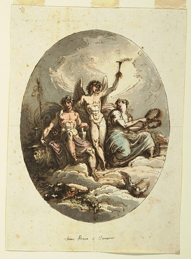 """Hymen standing, embraces Dionysos with right arm and raises torch with his left arm. At left Dionysos sits upon throne, together with lion; he leans left hand upon pitcher, supports hand thyrsos with right. At right Venus sits, holding a wreath with each hand. Upon clouds in foreground at left, the mask of satyr, with tamborine and other musical instrument on vine. At right, two kissing doves. Below caption: """"Imene Bacco e Venere."""" Verso: perhaps written by Giani, """"26"""" and """"44."""". Made in: Italy. Date: 1800s. Record ID: chndm_1901-39-1806."""