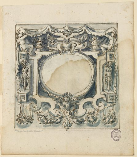 (A) The escutcheon is a lath and scrollwork frame of a horizontal ovoid. Between beams stand laterally, gaines of women with arm stump. On top sit three boys supporting a cloth with scalloped edges forming the background for the escutcheon. Festoons hang below. Made in: Italy. Date: 1600s. Record ID: chndm_1901-39-1953.