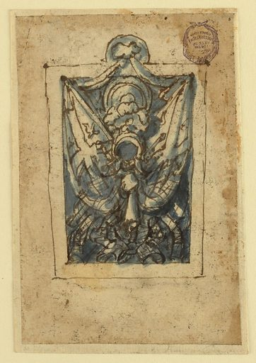 Vertical rectangle. A trophy composed of a helmet and shield in the center, flanked by barriers bearing a design of crosses and birds. A festoon of drapery crowns the composition. Made in: Netherlands. Date: 1600s. Record ID: chndm_1901-39-2274.