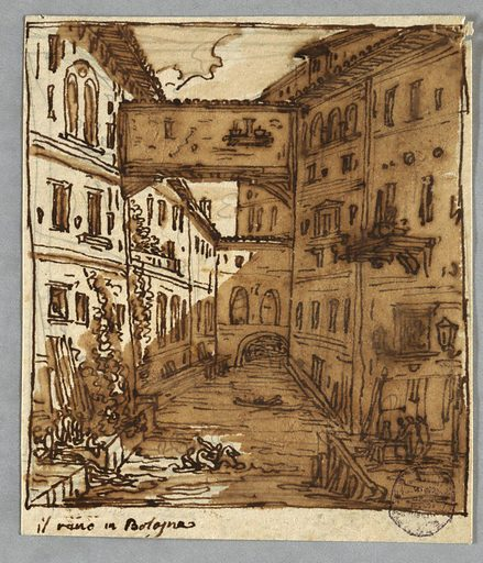 Stream bordered by houses with landings in foreground. House crosses stream as does bridge. Two riders on horseback cross stream. Boat. Inscribed: il reno in Bologna. Verso: four moldings. Made in: Italy. Date: 1810s. Record ID: chndm_1901-39-2433.