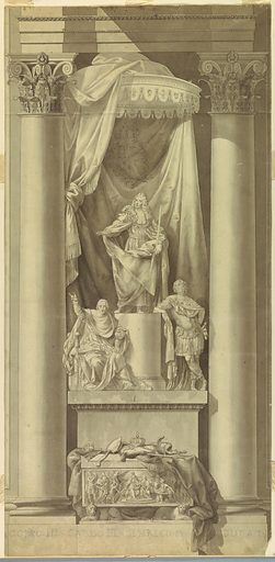 """Vertical rectangle in shape with a dado below. A sarcophagus stands between Corinthian columns. It is supported by two crouching lions and decorated at the front with a representation of the coronation of the """"Young Pretender"""" (most likely). Upon the cover are the royal and a bishop's insignia, a helmet and a wand upon a cloth. Behind the sarcophagus rises a pedestal upon which sits at left the Cardinal of York and lean, at right the Young Pretender upon the column shaft, upon which stands James III in front of a canopy, with the royal coat-of-arms. On the dado is written with crayon: """"[JA] COMO III – CARLO III – ENRICO IX DUCA DI [YORK]."""". Made in: Italy and France. Date: 1780s. Record ID: chndm_1901-39-2513."""
