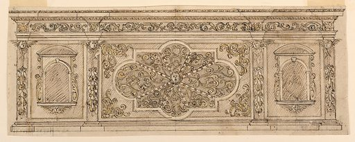 Horizontal composition of a chest. The central section has a twelve cornered quatrefoil subdivided with spoks and a cherub in the center. There are plant ornaments between the spokes and in the corners of the section. The lateral sections have aediculae with cherubs. Pilasters are decorated with fruit bucnhes suspended from cherubim. Scale at the bottom left. Made in: Italy. Date: 1600s. Record ID: chndm_1901-39-2629.