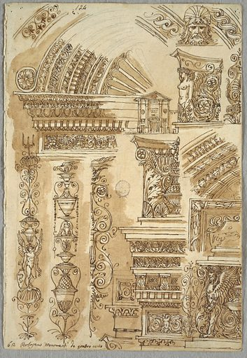 Facade of Santa Cecilia in Bologna; four studies of capitals; sepulchra; three pilasters; Verso: geometrical figures in plane and solid. Made in: Italy. Date: 1810s. Record ID: chndm_1901-39-2743.