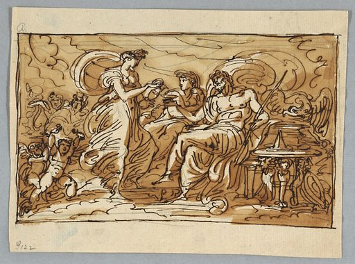 Juno shown between Jupiter and Hebe, gods at left. Eagle beside Jupiter. Two putti in lower left hand corner. Made in: Italy. Date: 1810s. Record ID: chndm_1901-39-3276.