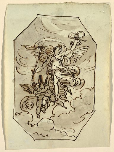 Female genius flying against background of clouds, holds torch in right hand and three wreaths in left. Accompanied by two flying putti who embrace each other. Verso: inscribed in ink, fama con corona/ delle belli arti; Faenza casa Morri. Made in: Italy. Date: 1810s. Record ID: chndm_1901-39-3376.