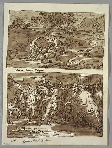 Upper drawing of she-wolf suckling Romulus and Remus, shown in cloth-lined basket, in landscape setting near river. Lower drawing of man at left leading horse; at center warrior in classical dress and helmet carrying suit of armor. At right, crowd led by old man wearing robes. Made in: Italy. Date: 1820s. Record ID: chndm_1901-39-3583.