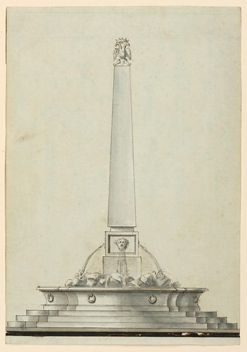 Truncated obelisk topped with a crowned double-headed eagle. Water flows from the mouth of a mask into a basin with rock work. A stepped base below. Made in: Italy. Date: 1780s. Record ID: chndm_1901-39-380.