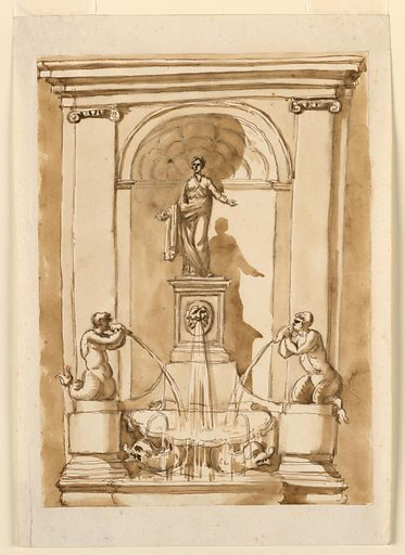 A niche with pilasters framed a statue (Flora?) who stand upon a pedestal. Below, water flows from a mask, and two conch shells held by mermen. A basin supported by two dolphin collects the water. Made in: Italy. Date: 1780s. Record ID: chndm_1901-39-393.