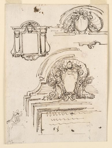 Papal escutcheons, one of which is indicated as that of Pope Benedict XIV. The largest sketch has dimensions of the tablet of the inscription. Made in: Italy. Date: 1740s. Record ID: chndm_1901-39-682.