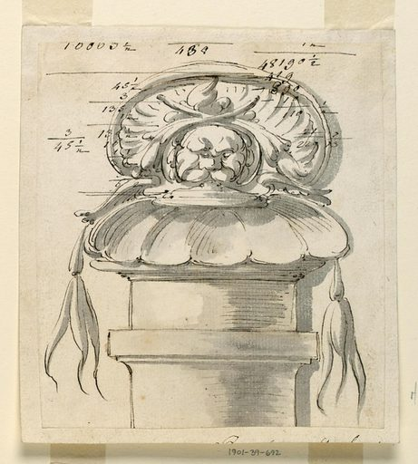 Atop a column, a mask with shell and foliage. Accounting above and tip of missing text belwo. Made in: Italy. Date: 1770s. Record ID: chndm_1901-39-692.