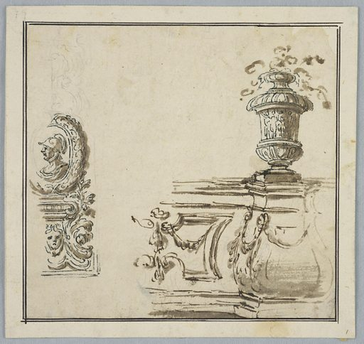 At left, a profile medallion of a soldier framed with a wreath, resting on a grotesque base. At right, the corner of garden architecture with a vase. Made in: Italy. Date: 1800s. Record ID: chndm_1901-39-714.