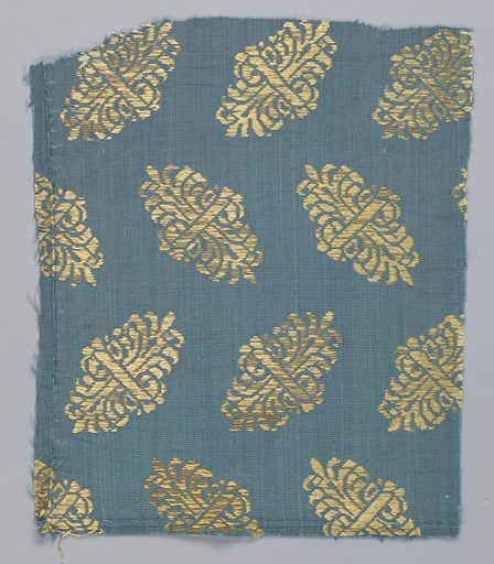Double palmette arranged in alternating rows on blue ground. Date: 1700s. Record ID: chndm_1902-1-656.