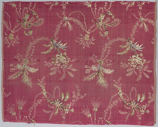 Delicate floral sprays festooned with pearl and leafy garlands on ribbed red ground. Made in: France. Date: 1800s. Record ID: chndm_1902-1-786-a_b.