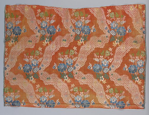 Serpentine white lace ribbons and polychrome bouquets on orange ground. Date: 1720s. Record ID: chndm_1902-1-811.