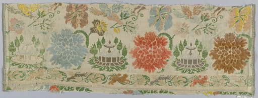 Polychrome large flowers and bird with border on white. Date: 1700s. Record ID: chndm_1902-1-870.
