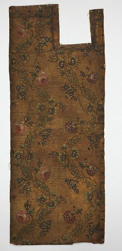 Diapered field, varnished silver. Rococo vine, in green, with flowers in red and blue. Date: 1740s. Record ID: chndm_1903-12-25-a_c.