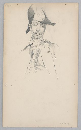 Sketch of a male figure wearing a bicorn hat. Made in: USA. Date: 1870s. Record ID: chndm_1904-16-115.