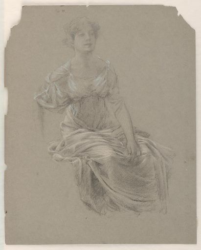 Sketch of a female figure with detail of fabric gathering around her shoulders and knees. The entire figure is shown without feet and slightly sketched right forearm. Made in: New York, NY, USA. Date: 1890s. Record ID: chndm_1904-16-23-a.