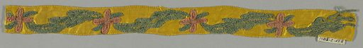 Design of alternating pink flower and green leaf worked in chenille on a yellow ground. Made in: France. Date: 1800s. Record ID: chndm_1905-2-13-b.