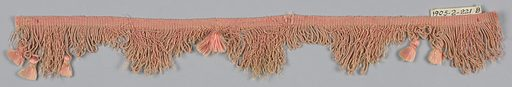 Pink fringe with a heading and a looped skirt with pointed edges ornamented with tufts of floss. Made in: France. Date: 1800s. Record ID: chndm_1905-2-221-a_b.