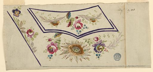 Design for the embroidery of the left bottom part of a man's waistcoat. Lilac edges. Boughs decorate the flap of the pocket. A kind of a fantastical sunflower is shown between flower boughs beneath the pocket. Boughs rise from the oblique edge of the waistcoat. Made in: France. Date: 1780s. Record ID: chndm_1906-21-184.
