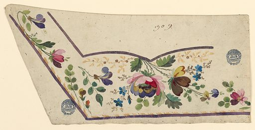Unfinished design for the embroidery of the left bottom corner of a man's waistcoat. Lilac edges, those at the bottom and at the left side of the pocket being shown. Leaves lie on the inner side of the edge of the waistcoat. a bunch of flowers, which includes a fantastically colored rose, is suspecnded from the bottom of the pocket. Flower and leaf boughs fill the remaining space of the field. Made in: France. Date: 1780s. Record ID: chndm_1906-21-187.