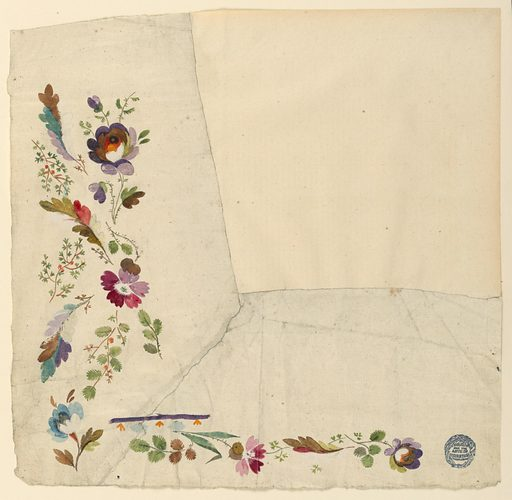 Disposed to form an angle. Flower boughs. A border design, alternating leaves under a stripe. Reverse: tracing; curved edge with halves of flowers. Made in: France. Date: 1780s. Record ID: chndm_1906-21-249.