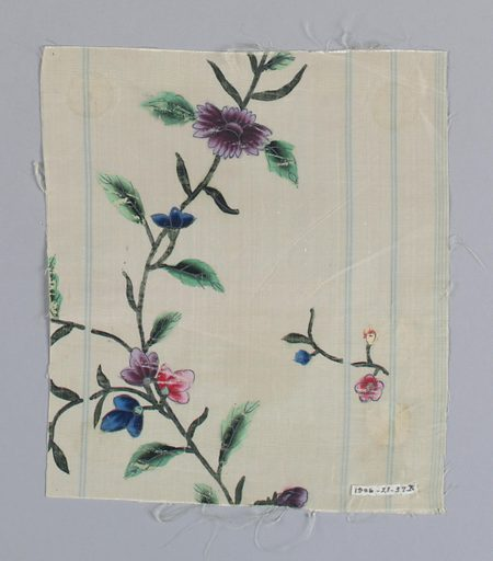 White ground with narrow vertical stripes of pale blue. Serpentine dark green stems with light green, almond-shaped leaves and red, purple, and blue flowers. Made in: China. Date: 1800s. Record ID: chndm_1906-21-37-a_c.