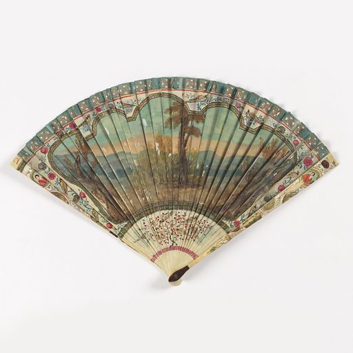 Fan with observe painted with a design of dancers and musicians against a landscape background. Reverse has a landscape scene with trees against a hilly backdrop. In margins are birds and figures in a chinoiserie style. Made in: possibly Netherlands. Date: 1720s. Record ID: chndm_1908-23-2.