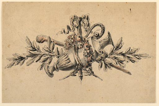Trophy consisting of a ewer encircled by a wreath of flowers, a walking staff angled at center, olive branches above and below, all bound by a ribbon tied in a bow. Made in: France. Date: 1780s. Record ID: chndm_1908-26-141.