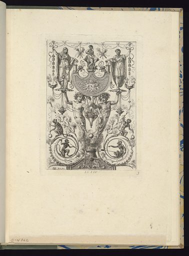 Plate 3 of a series of 6 numbered plates. Symmetrically-designed panel with grotesques. At center, two humanoid figures support with their outstretched hands a platter upon which a woman stands at left and a man stands at right. At lower left and right, two monkeys occupy circular cartouches; another pair of monkeys stands above the forms. Ornamental decorations include festoons of flowers, lamps, and borders. Made in: Paris, France. Date: 1780s. Record ID: chndm_1921-6-298-3.