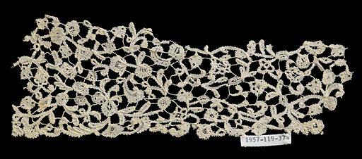 Belgium bobbin lace copy of Venetian needle lace. Made in: Belgium. Date: 1700s. Record ID: chndm_1957-119-37-b.