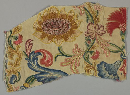 Wool plain weave, embroidered in large scale polychrome floral design. Chain, stem, satin, knot stitches. Made in: England. Date: 1700s. Record ID: chndm_1957-180-69.
