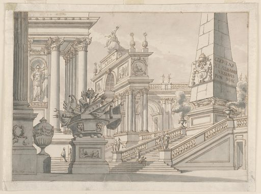 Conglomeration of buildings in the Renaissance style with figures, triumphal arch, obelisk, etc., showing armorial bearings of Pope Clement XI (Albani) (1700-1721) and inscription with his name. Made in: Rome, Italy. Date: 1710s. Record ID: chndm_1938-88-166.