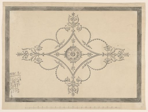 Design for an ornamental plaster ceiling, border in gray wash, scale in pen and ink at bottom. Inscriptions in pen and ink at lower left, written vertically. Made in: England. Date: 1810s. Record ID: chndm_1940-21-2.