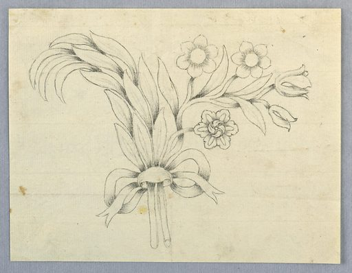 A leaf bough and various kinds of flowers, fastened by a bow-knot. Made in: Florence, Italy. Date: 1820s. Record ID: chndm_1940-86-598.