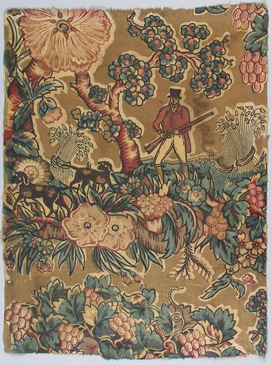Fragment showing a pattern of a hunter with two dogs in a field of flowers with sheaves of wheat under a flowering tree. Colors are red, blue, yellow and dark brown on a light brown ground. Made in: England. Date: 1820s. Record ID: chndm_1941-64-3.