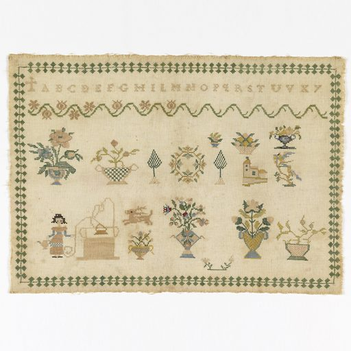 Narrow conventionalized border surrounding the alphabet, floral cross border and detached motifs including a woman at a well with flowers. Made in: Italy. Date: 1800s. Record ID: chndm_1941-69-12.