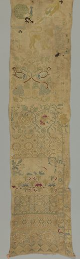 Sampler divided into horizontal bands showing birds, Crucifixion, animals, floral and geometric borders. In compartments on one side, alphabets, numerals and crowns. Made in: Germany. Date: 1800s. Record ID: chndm_1941-69-255.