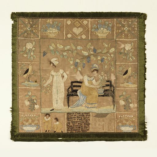 Central scene of two women, one standing, and one seated on a bench beneath a grape arbor. Border of sixteen squares containing birds, flowering sprays, baskets of flowers, boys at play, a house, and, at the bottom center, the inscription. With a border of green silk ribbon. Made in: Wrightsville, Pennsylvania, USA. Date: 1810s. Record ID: chndm_1941-69-26.